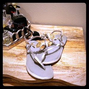 Silver with gold hardware Tory Burch 10 sandal